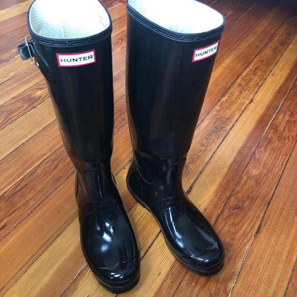 94837802a922 Hunter Shoes   Womens Original Tall Gloss Rain Boots Black   Poshmark